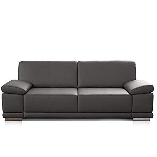 CAVADORE 3-Sitzer Sofa Corianne in Kunstleder / Leder-Couch in hochwertigem Kunstleder und modernem Design / Mit Armteilfunktion / 217 x 80 x 99 /...