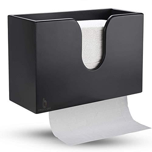 Bambus-Papierhandtuchspender, Papierhandtuchhalter für Küche, Bad, WC, Zuhause und Gewerbe, Wandhalter oder Arbeitsplatte für Multifold, C-Falz, Z-Falz, Trifold Handtücher (schwarz)
