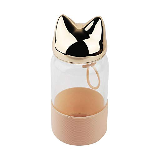 340ml Lovely Fox Kids draagbare transparante glazen waterfles met verbrandingsbeveiliging (champagne goud)