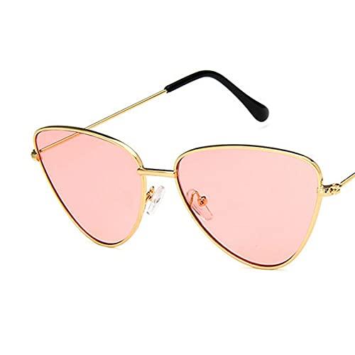 ShSnnwrl Gafas De Moda Gafas De Sol Gafas De Sol con Montura Pequeña De Ojo De Gato De Aleación, Gafas De Sol con Lente Oceánica para Mujer, Montura De M