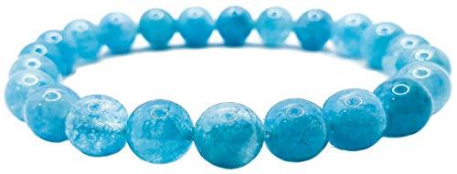 Pulsera elástica para hombre y mujer, con piedras preciosas naturales de 8 mm, para reiki, idea de regalo de cumpleaños, original difusor de energía para curar el equilibrio, Piedra, Aquamarine,