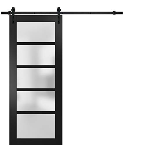 Stainless Steel 13FT Rail Hangers Heavy Set Sturdy Double Barn Door 36 x 80 inches with Frosted Glass Quadro 4002 Grey Ash Solid Panel Interior Doors