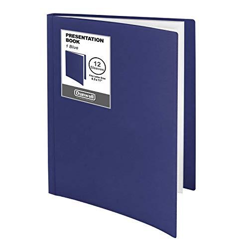 "Dunwell 12-Pocket Portfolio Presentation Binder - (Blue, 1 Pack), Bound Presentation Book with Plastic Sleeves, Displays 24 Pages 8.5x11"" Sheets, Binder with Pockets, Sheet Protector Binder"
