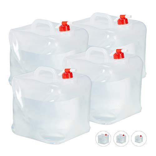 Relaxdays Faltkanister 4er Set, 20 l, Hahn, Schraubdeckel, Tragegriff, Wasserkanister Camping, BPA-frei, transparent/rot
