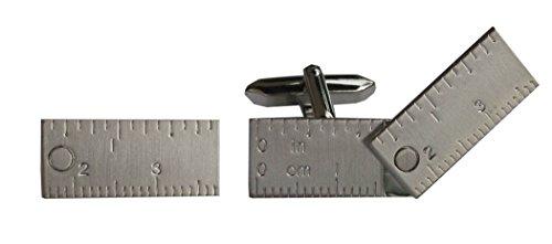 Unbekannt Manschettenknöpfe Zollstock ausziehbar - beweglich! silbern matt zum Thema Handwerk + Geschenkbox