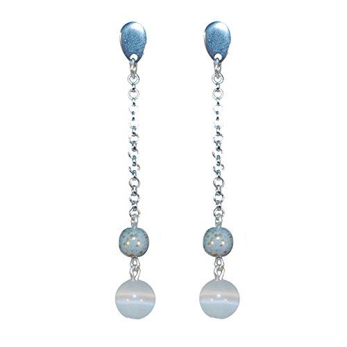 Créative-pendientes perlas colgantes con clavos ojo de gato, color blanco y gris, jaspeada, color...