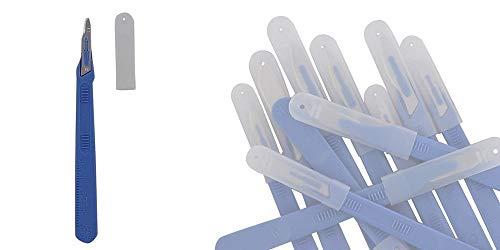 10x Einweg-Skalpell Klinge Figur 15, Kosmetex Einmal Skalpell, mit Schutzkappe, einzeln steril verpackt, Figur 15