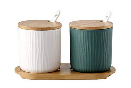 Koala Superstore Barattolo di spezie Chili per la casa in Porcellana Creativa per condimenti,Bianco/Verde