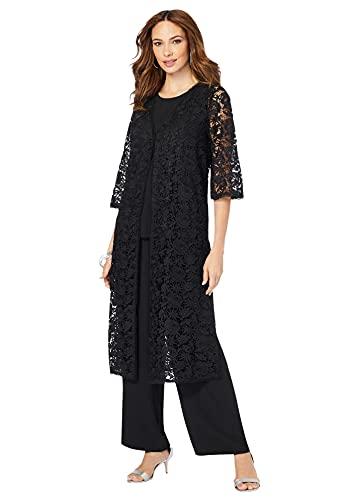 Roamans Women's Plus Size Three-Piece Lace Duster & Pant Suit Duster, Tank, Formal Evening Wide Leg Trousers - 30 W, Black