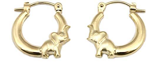 Creolen Elefant echt Gold 333 Kinderohrringe 8 Karat Gelbgold Qualität
