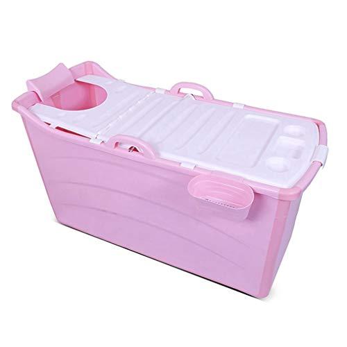 CYLQ Opvouwbare badkuip voor volwassenen, voor baby's, badkuip voor kinderen, douchebak, opvouwbaar, voor de grote badkuip van het huis, blauw/roze, 117 x 52,5 x 63 cm