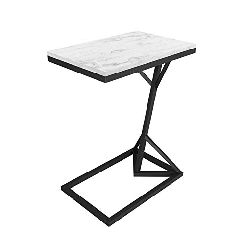 BZ-ZK Marble C-shaped Coffee Table, Living Room Bedroom Sofa Side Table Multifunction Space Saving Breakfast Table, 45 * 30 * 58CM(Size:45 * 30 * 58CM,Color:Black)