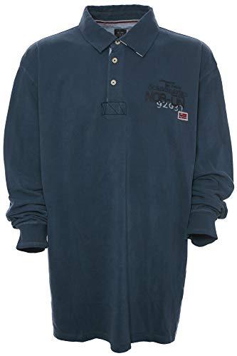 Kitaro Polosweat Sweatshirt Polo Sweat Shirt Herren Langarm Plusgröße Übergröße, Herrengrößen:7XL, Farbe:blau