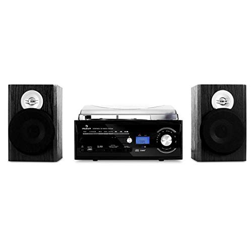 AUNA TT-190 Black Line - Micro Impianto Stereo Compatto , Lettore Vinili , Giradischi , 45 RPM max , Funzionamento a Cinghia , Radio FM , Porta USB/SD , Bass Reflex , 2 Diffusori 2 Vie , Color Nero