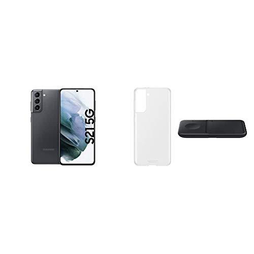 Samsung Galaxy S21 5G, Triple-Kamera, Infinity-O Display, 128 GB Speicher, leistungsstarker Akku, Phantom Gray S21 Clear Cover transparent inkl. Wireless Charger Duo P4300
