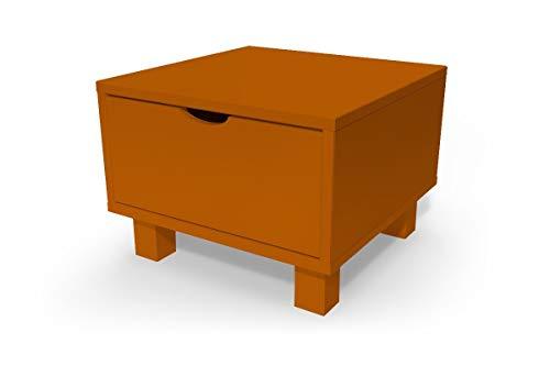 ABC MEUBLES - Chevet Cube tiroir Bois, Couleur: Chocolat