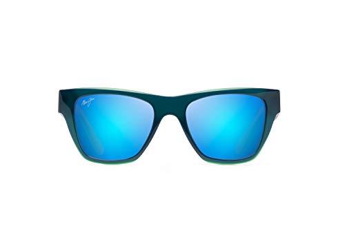 Maui Jim Ekolu con lentes polarizedplus2 patentadas sin montura gafas de sol, azul (Azul/Verde/Gris/Azul Hawaii Polarizado), Medium