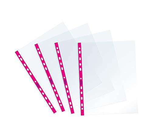 Favorit Buste Perforate, Lucide, Alto Spessore, 22 x 30 cm, 25 Pezzi, Trasparenti con Banda Colorata Fucsia Fluo