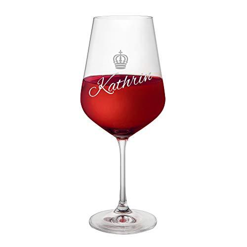 AMAVEL Rotweinglas mit Gravur und Kronen-Motiv, Königin, Personalisiert mit Namen, Geschenkidee für Weinliebhaber, Füllmenge: ca. 500 ml