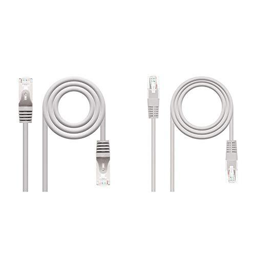 NanoCable 10.20.0810 - Cable de red Ethernet RJ45 Cat.6 FTP AWG24, 100% cobre + 10.20.0403 - Cable de red Ethernet RJ45 Cat.6 UTP AWG24, 100% cobre, Gris, latiguillo de 3mts