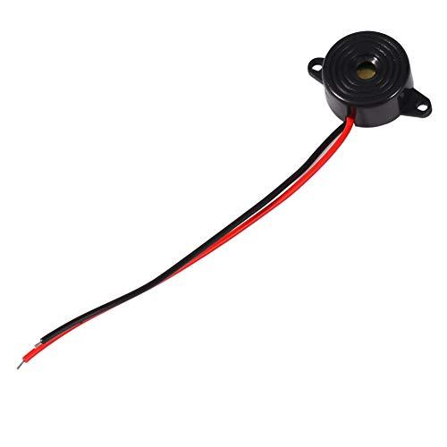 Zumbador de alarma, zumbador de tono electrónico piezoeléctrico de 3-24 V Alarma de 12 V CC Sonido continuo Longitud del cable 100 mm Negro