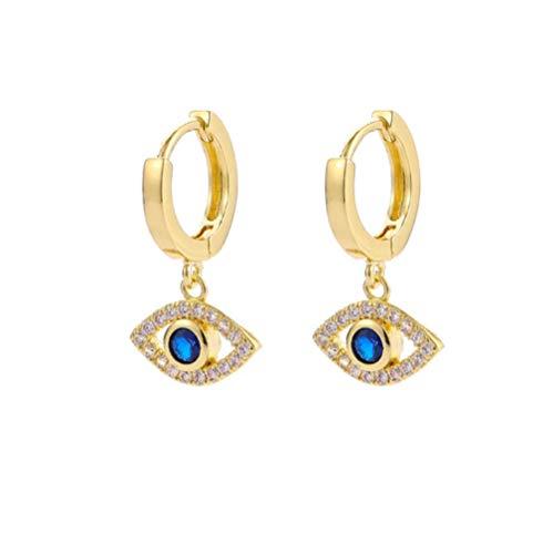 Vvff Zirkon Augenohrringe Splitter Gold Farbe Blau Augentropfen Ohrringe Für Frauen Hochzeitsfeier Schmuck Geschenk