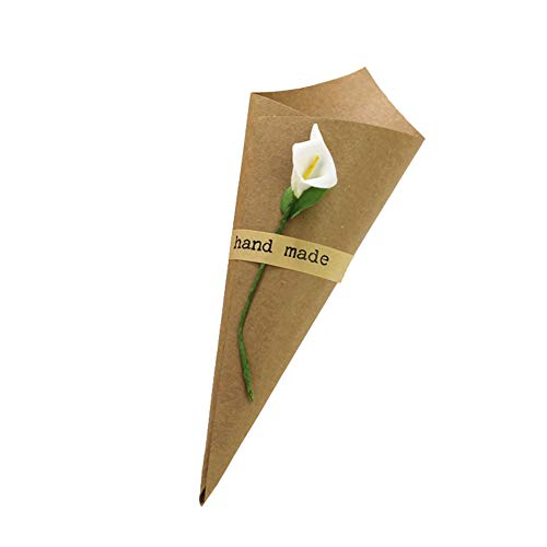Angelliu 100pcs Laser Cut Hollow Confetti Cones Candy Gift Boxes for Party Wedding Favour (Kraft Paper with Flower)