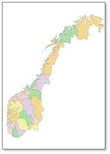 Imán para nevera con diseño de mapa político de Noruega