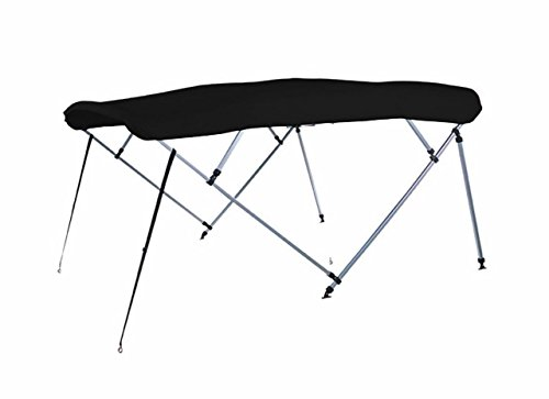 Amazing Deal 7 oz Black 4 Bow Square Tube Boat Bimini TOP with Running Light Cutout Sunshade for For...