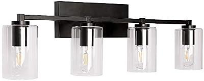 PUUPA 4 Lights Black Bathroom Vanity Light Fixture with Clear Glass Shade, Modern Industrial Vintage Edison Wall Lamp Light