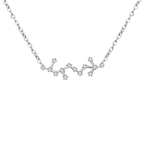 Clearine Collares de Mujer Serie de Constelación con Colgante Plata 925 Zirconia Cúbica Horóscopo Exclusivo para Regalo Boda Novia