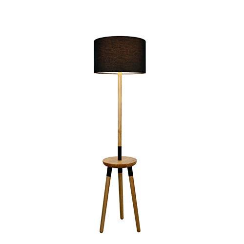 Staande lamp, eenvoudig, creatief, voor slaapkamer, woonkamer, salontafel, driepoot, massief hout, staande lamp met plank