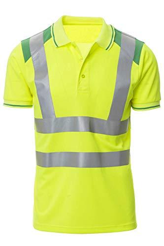 Mivaro Herren Warnschutz Poloshirt, Hohe Sichtbarkeit durch Reflexstreifen EN ISO 20471 Klasse 2, Größe:3XL, Farbe:Neongelb/Grün