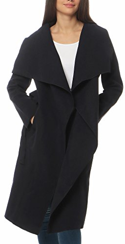 Malito Damen Mantel lang mit Wasserfall-Schnitt | Trenchcoat mit Gürtel | weicher Dufflecoat | Parka - Jacke 3040 (dunkelblau)