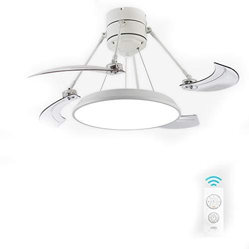 Haozai Moderne creatieve led-ventilator, led-plafondlamp, met afstandsbediening, stille plafondventilator, slaapkamer, lamp, woonkamer, kleuterschool, kantoor, kinderkamer, plafondventilator, verlichting