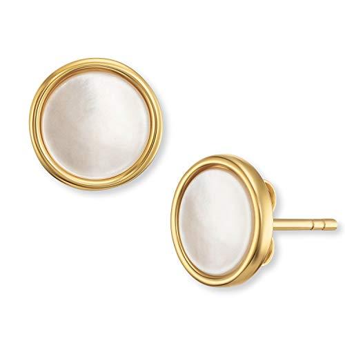Engelsrufer - Muschelkern Ohrringe für Damen, Ohrstecker aus 925 Sterlingsilber vergoldet, Perlenohrringe goldfarben mit weißer perlmutt Muschel-Perle