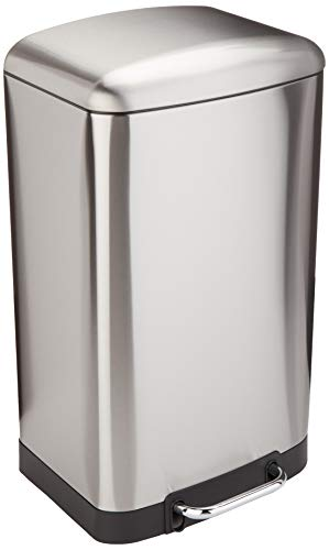 Amazon Basics Rectangle Soft-Close Trash Can with Steel Bar Pedal - 40L, Nickel