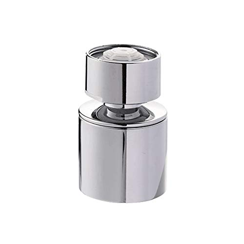 Horiznext kitchen and bathroom faucet nozzle aerator, 360 degree big angle swivel dual flow sprayer for sink tap head, rotatable dual function water splash filter (1 pc)