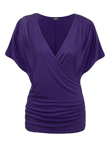 Zeagoo Damen V-Ausschnitt T-shirt Kurzarm Batwing Fledermaus Sommer Shirt Tunika Bluse(EU 40(Herstellergröße:L), Lila