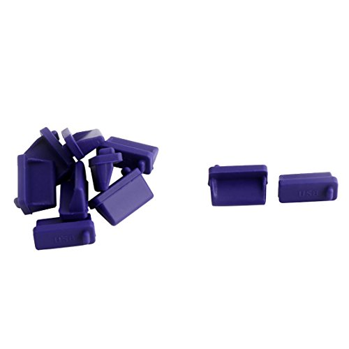 uxcell Silicone Cellphone PC Female End USB Port Cover Cap Anti Dust Protector 10 PCS Purple