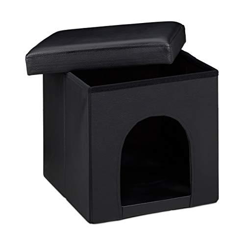 Relaxdays Taburete Casa para Perros Plegable, Piel sintética, Negro, 38 x 38 x 38 cm