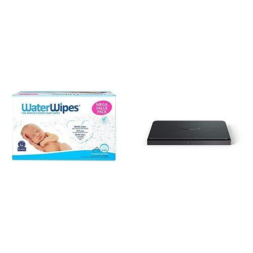 WaterWipes Unscented Baby Wipes, Sensitive and Newborn Skin, 12 Packs (720 Wipes) + Amazon Dash Smart Shelf (Medium)