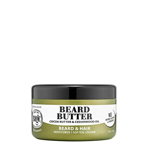 magic beard oils Softsheen-Carson Magic Men's Grooming Conditioning Beard Butter with Cocoa Butter and Cedarwood Oil, Moisturizes, Softens and Define with No Drying Alcohol, 3.5 oz