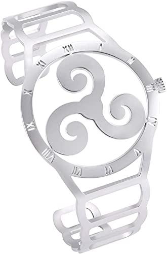 AMOZ Reloj de Acero Inoxidable con Forma de Vikingo Nórdico Triskele Símbolo Pulsera Diseño Hueco Grabado 24 Runas Brazalete para Hombres Mujeres Adolescentes,Estilo 2