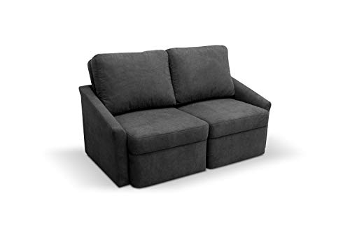 Domo Collection Relax Boxspringsofa / 2er Sofa mit Boxspring und Schlaffunktion / Dauerschläfer Couch fürs Gästezimmer / Maße: 168/96/86 cm (B/T/H) / Farbe: dunkelgrau (grau)