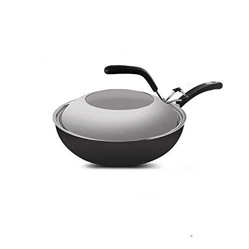 XXDTG Cook Sartén Stir Fry estándar de acero inoxidable con tapa de domo Wok revestido de capas múltiples, plata (Size : Small)