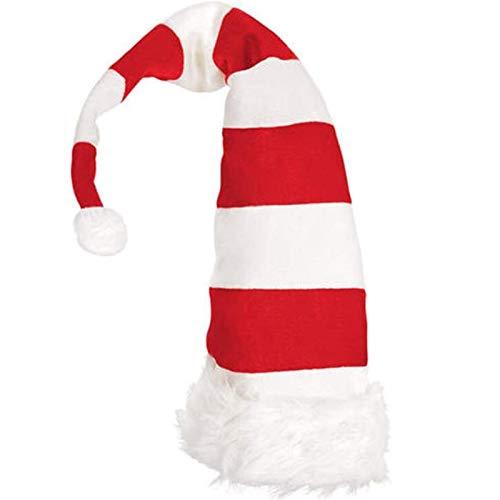 Adornos navideos, Disfraz navideo para Mujer, Sombrero navideo de Rayas Rojas y Blancas, Sombrero Largo y Lindo de Elfo navideo
