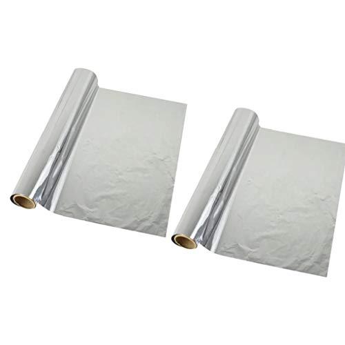 JRXyDfxn 2 Rollen Blech Folie Papier Barbecue Grill Backpapier Grill Hitzebeständige Tinfoil Papier für Outdoor-Camping-Picknick-Grill-Zubehör