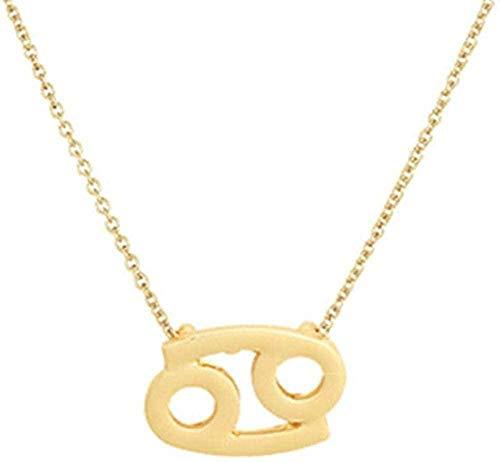 TYWZH Collar Femenino Elegante Estrella Signo del zodíaco 12 constelación Collares Colgantes Encanto Cadena de Oro Gargantilla Collares para Mujer joyería