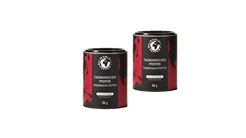 Tasmanischer Pfeffer - World of Pepper - 2x 50g - einzigartiger australischer Bergpfeffer - Premium Qualität mit Zufriedenheitsgarantie